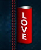 Jeans seam with red love label — Foto Stock