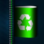 Jeans seam with green recycle tab  — Foto Stock