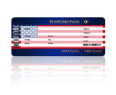 Air ticket with United States of America flag isolated over whit — Stockfoto