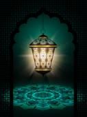 Diwali lantern shining over dark background — Stok fotoğraf