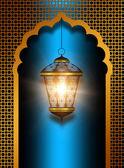 Shiny diwali lantern over blue background — Stok fotoğraf