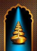 Diwali oil lamps over dark  background  — Stok fotoğraf