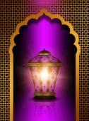 Menekşe arka plan üzerinde parlak diwali fener — Stok fotoğraf