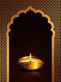 Diwali oil lamp over dark brown  background  — Stok fotoğraf
