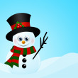 Christmas snowman in snow with place for text — Stock Photo #56263759