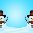 Christmas snowmans in snow with place for text — Stock Photo #56263801