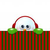 snowman with earmuffs looking up and holding christmas blank  — Stock Photo