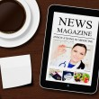 Tablet with news magazine, cup of coffee, pen and white sheet — Стоковое фото #56748761