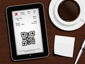 Tablet with boarding pass, mug of coffee, pen and white blank — Photo