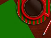 Natal cafezinho com carta verde e lápis — Fotografia Stock