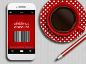 Mobile phone with discount coupon, cup of coffee and pencil lyin — Stockfoto