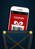 Mobile phone with christmas coupon in pocket — Stock Photo