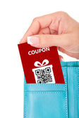 Hand holding christmas coupon in wallet isolated over white — Stok fotoğraf