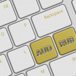 Computer keyboard with australian dollar and russian ruble butto — Stock Photo #62467099