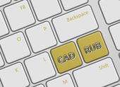 Computer keyboard with canadian dollar and russian ruble buttons — Stock Photo