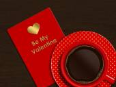 Coffee with valentine card over wooden background — Foto Stock