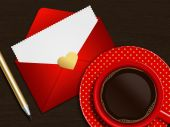Coffee with valentines card over wooden table — Stock Photo