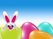 Easter bunny hatched from egg over blue sky — Stock Photo