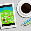 Tablet with gps navigation application, coffee and pencils lying — Stock Photo #66668039