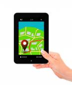 Hand holding tablet with navigation application isolated over wh — Stok fotoğraf