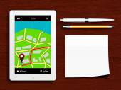 Tablet with gps navigation application, pen, pencil and sticky n — Foto de Stock