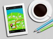Tablet with gps navigation application, coffee and pencils lying — Stockfoto