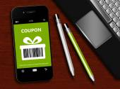 Mobile phone with spring discount coupon, laptop and office tool — Stock Photo