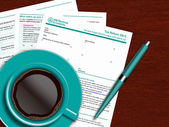 SA100 tax return form with coffee and pen on wooden table — Stock Photo