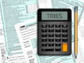 U.s. individual income tax return form 1040 with calculator and  — Stock Photo