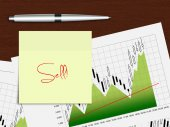 Candlestick chart with recommendation note lying on wooden desk — Stock Photo