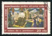 Första mässan firades i Brasilien Pedro Alvares Cabral — Stockfoto