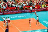 WARSAW, POLAND - AUGUST 30 : Volleyball Men's World Championship opening game Poland-Serbia, Warsaw, 30 August 2014 — Stok fotoğraf