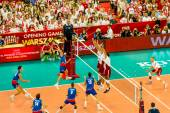 WARSAW, POLAND - AUGUST 30 : Volleyball Men's World Championship opening game Poland-Serbia, Warsaw, 30 August 2014 — Foto Stock