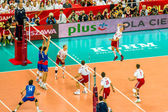 WARSAW, POLAND - AUGUST 30 : Volleyball Men's World Championship opening game Poland-Serbia, Warsaw, 30 August 2014 — Zdjęcie stockowe