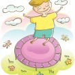 Boy and trampoline — Stock Vector #77878450