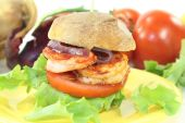 Fresh healthy delicious prawn burger — Stock Photo