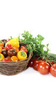 Vegetable basket with mixed vegetables — Stock Photo