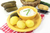 Potatoes and curd — Stock Photo