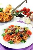 Spaghetti alla Puttanesca — Stock Photo