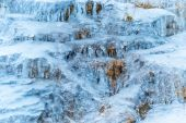 Frozen waterfall of blue icicles — Stock Photo