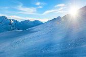 Snowy blue mountains — Stock Photo