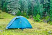 Blue camping tent — Stock Photo