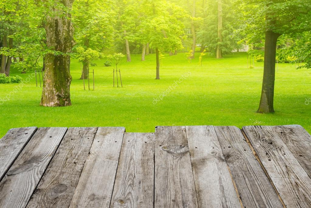 Table on the green spring park background — Stock Photo ...