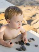 Baby boy on the beach — Stock Photo