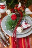 Christmas time table decoration — Stock Photo