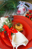 Christmas time table decoration — Stock Photo