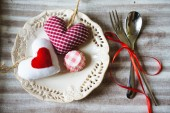 St. Valentine's festive table set — Photo