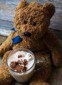 Teddy bear and marshmallow — Stock Photo
