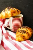Traditional breakfast with croissant — Stock Photo
