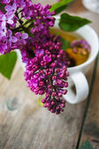 Lilac flowers in a rustic interior — Stock Photo